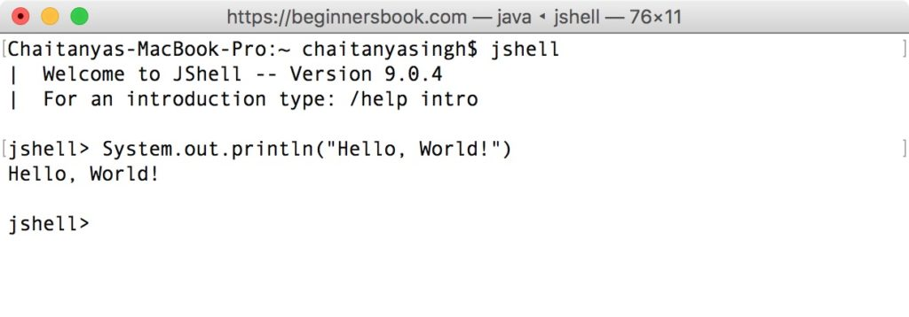 JShell - Java Shell Hello World