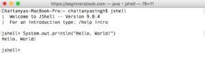 JShell - Java Shell Hello World