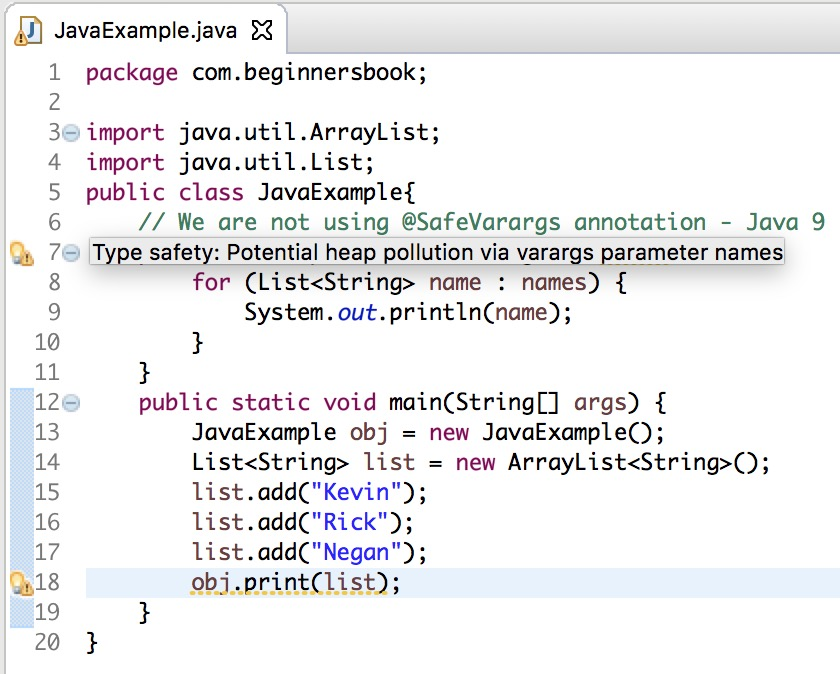 Java 9 @SafeVarargs annotation