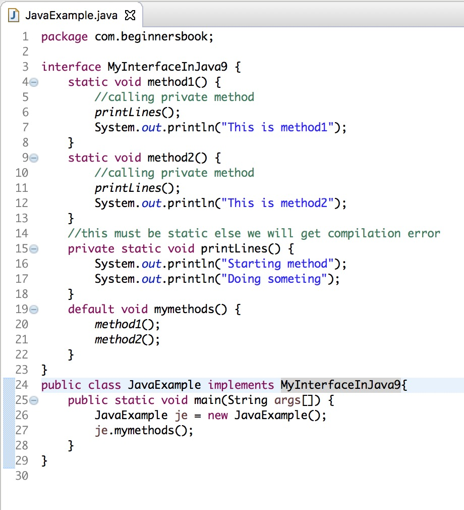 Java 9 - Private methods in Interfaces (with examples)