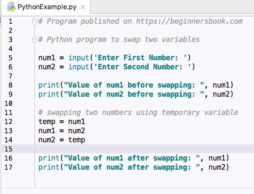 Python Program to Swap Two Numbers
