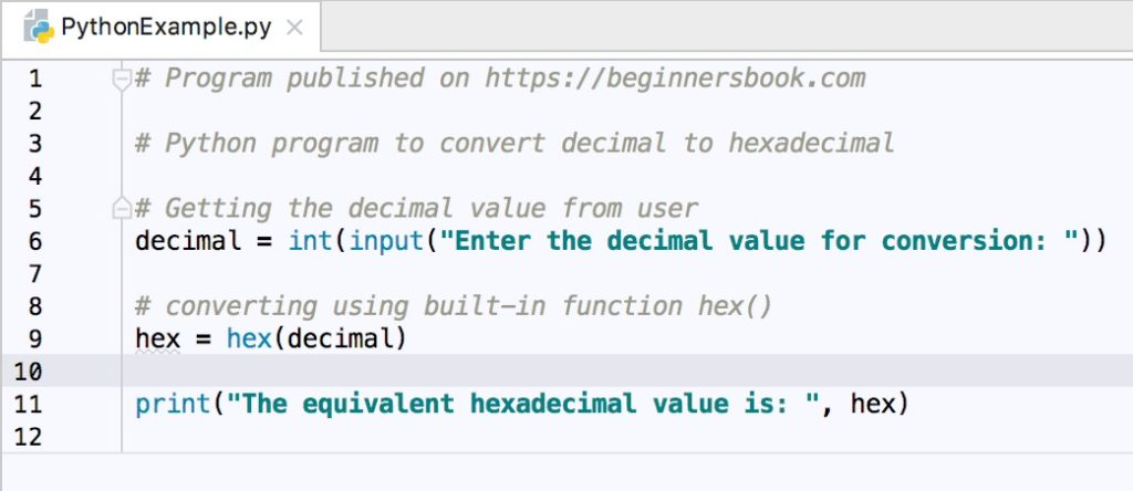 Python Program to Convert Decimal to Hexadecimal