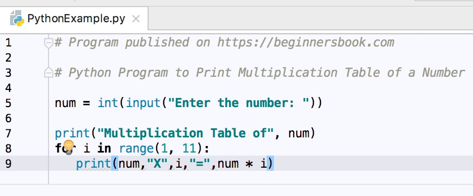 Python program to display multiplication table of given number