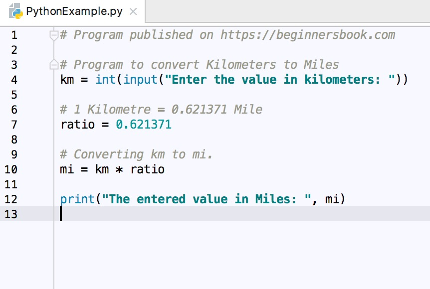 Python program to convert Kilometers to Miles
