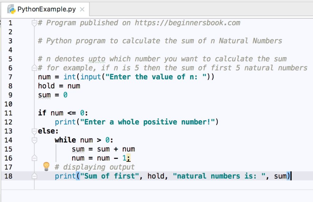 Python Program to Find Sum of first n Natural Numbers