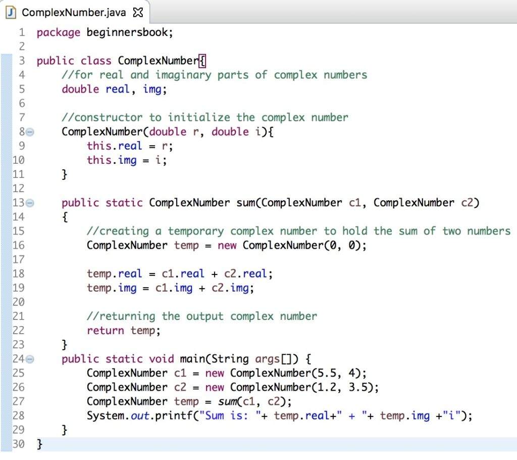 Java Program to add two complex numbers in Eclipse IDE