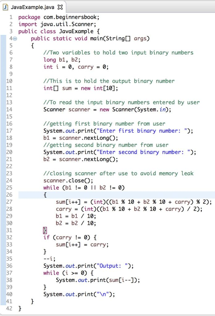 Java Program to Add two Binary Numbers