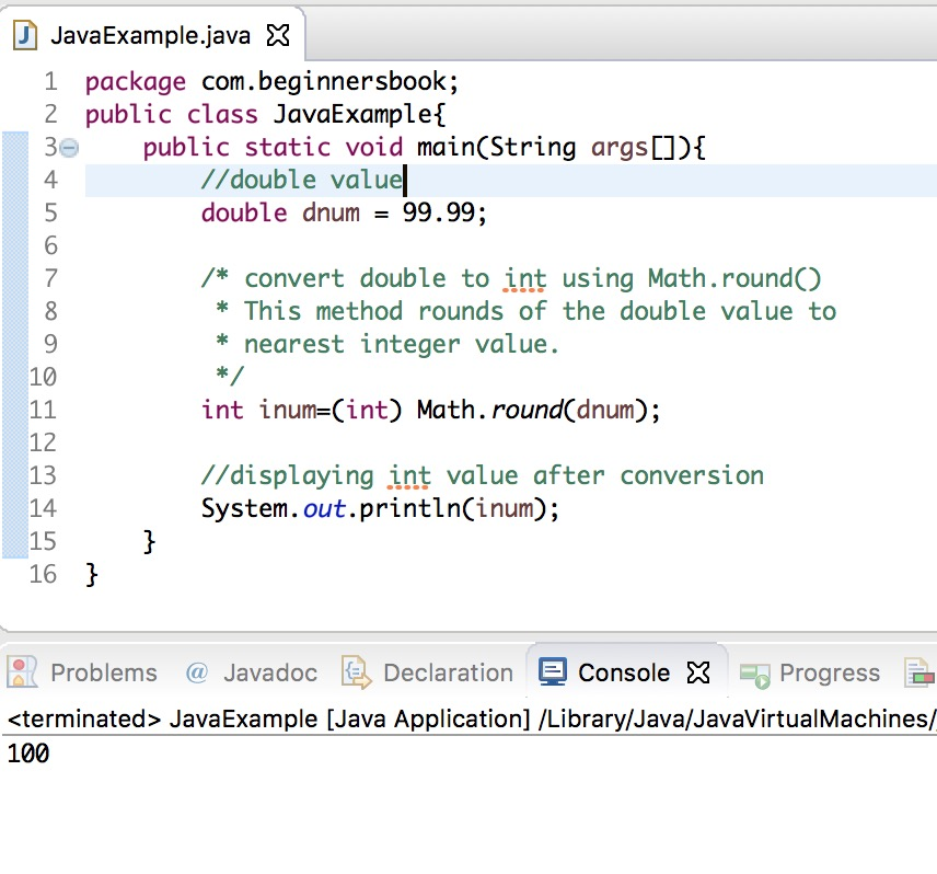 Java double to int conversion using math.round() method