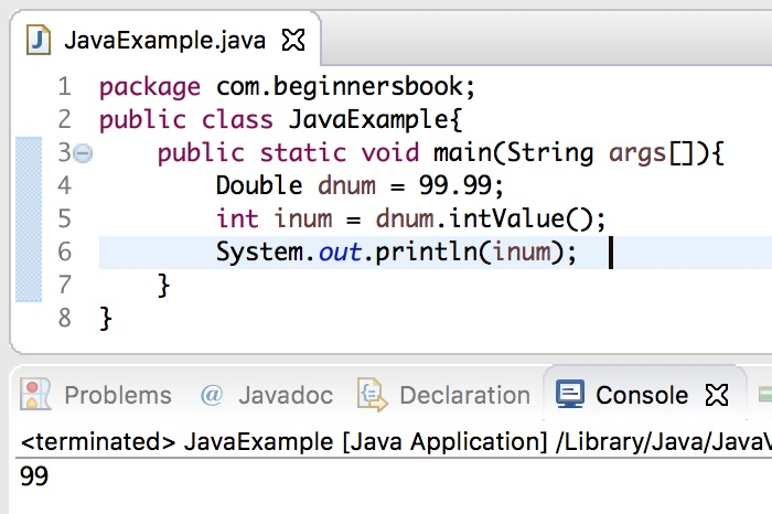 Convert double to int in Java using Double.intValue() method