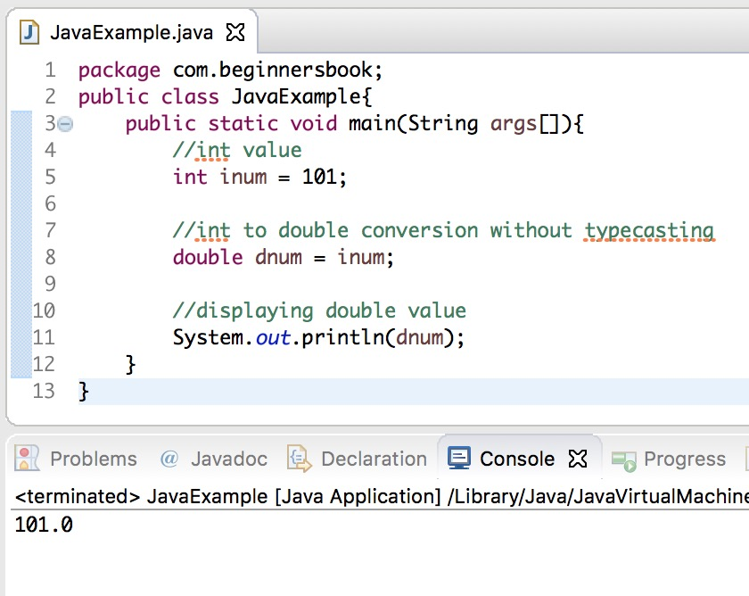 Java Convert int to double