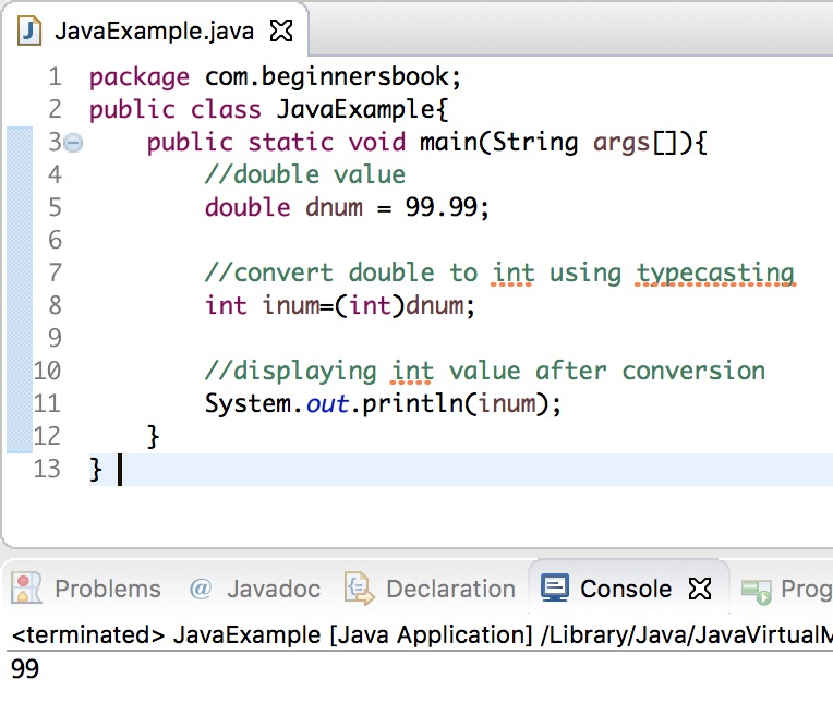 Java Convert double to int using typecasting