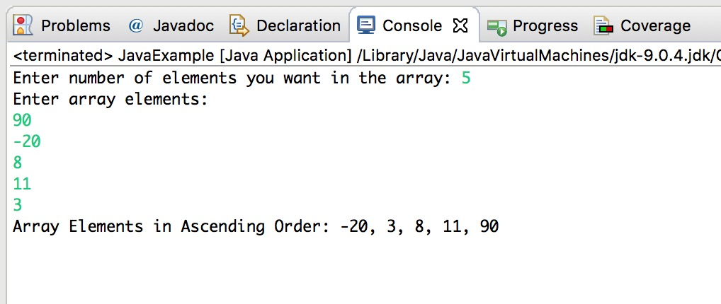 Java Program to Sort an Array in Ascending Order