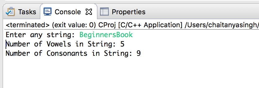 C Program to Count Vowels and Consonants in a String using Pointer