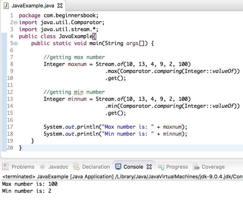 Java 8 Stream min & max number example