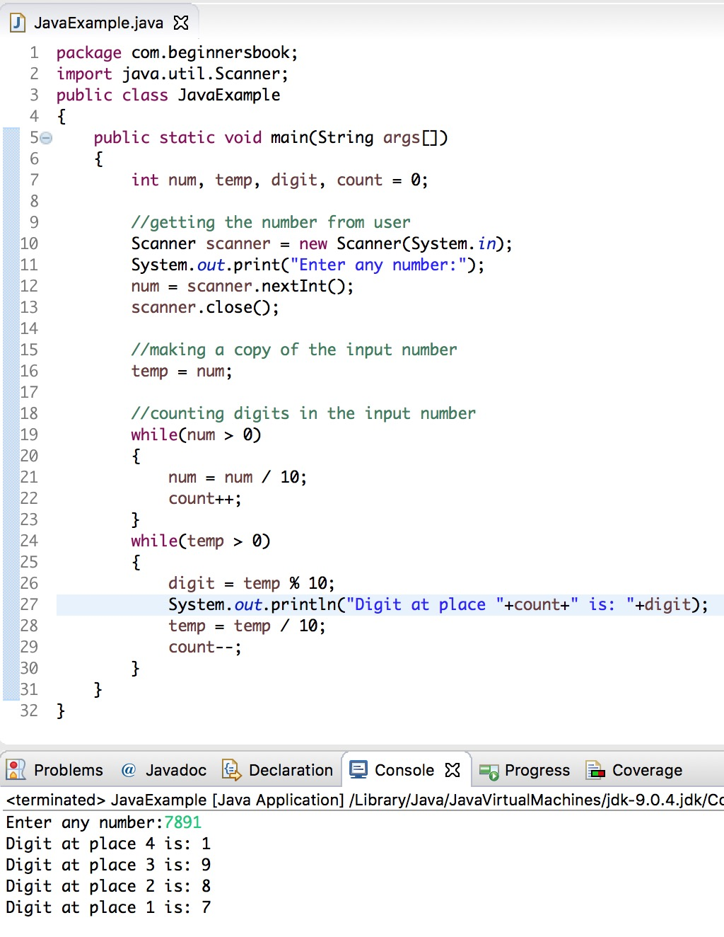 How to write out all numbers from 1 to input of lines java help on how to write a book