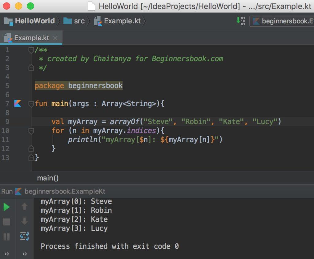 Kotlin array loop through collection