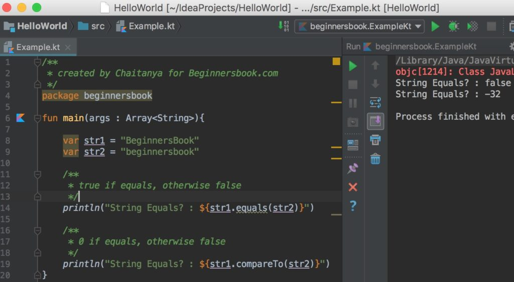 Compare Strings in Kotlin