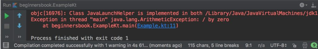 Kotlin exception handling error when we don't handle them