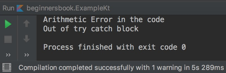 Kotlin try catch block example