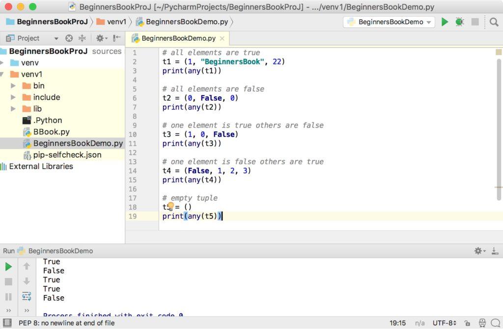 Python any function tuple example