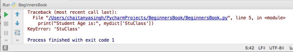 Python dictionary error