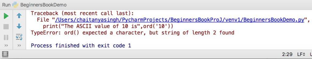 Python ord() function error