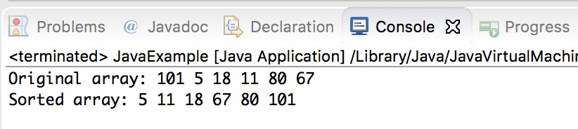 Java Selection sort program with example