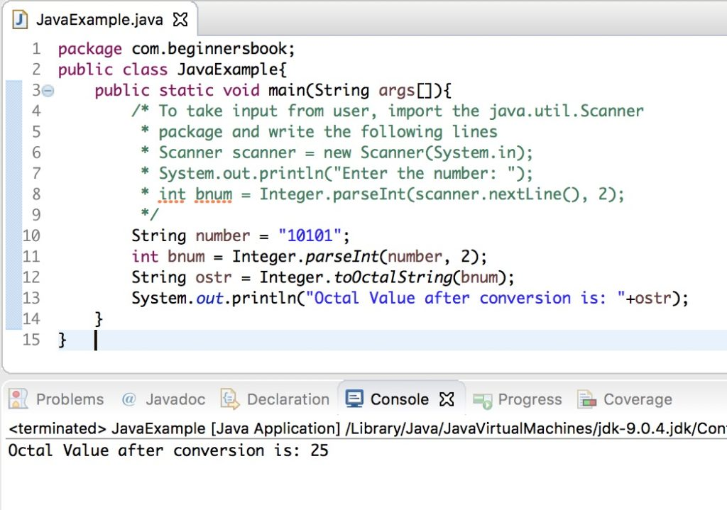 Java Binary to Octal Conversion with examples