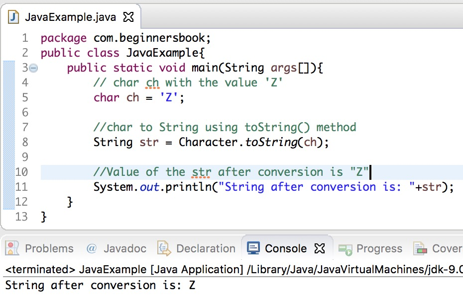 Java convert char to String example