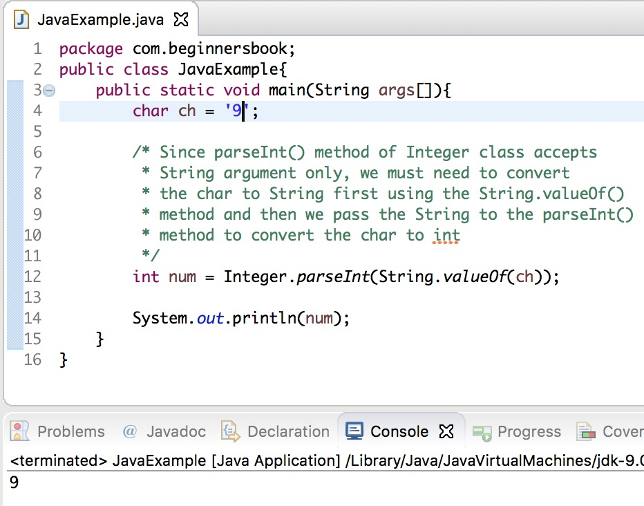 Java char to int conversion example