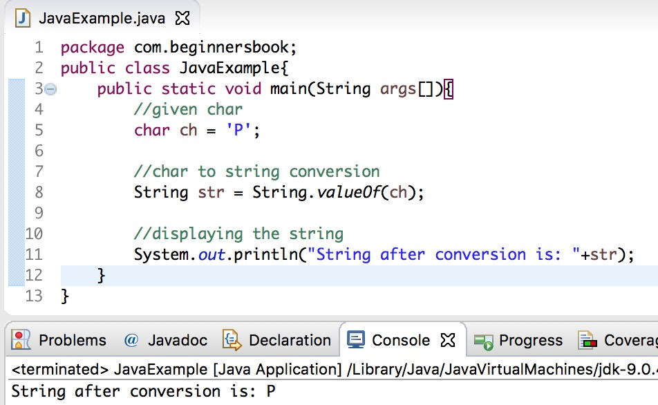 Java char to String conversion example