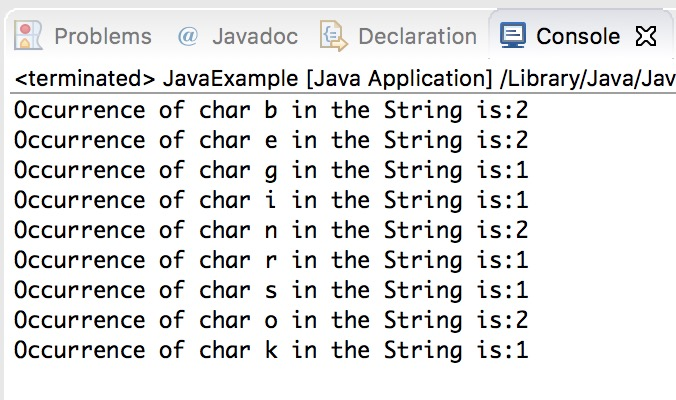 Java program to find the occurrence of a character in a string