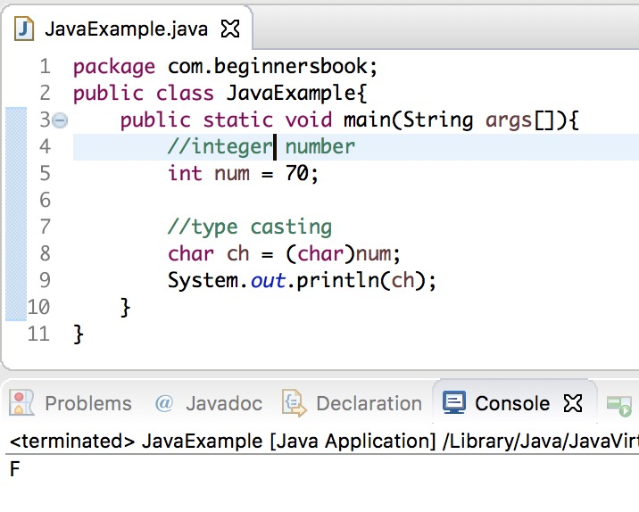 Java int to char conversion