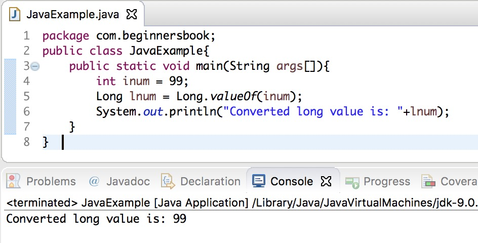 Java int to long conversion using valueOf() method of Long class