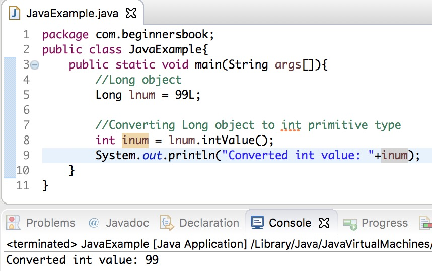 Java long object to int primitive type