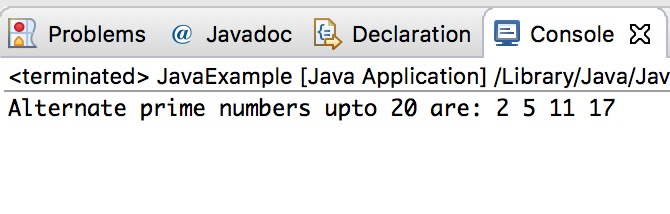 Java Program to display alternate prime numbers