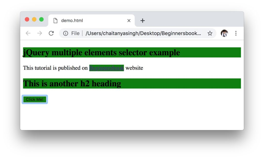 jQuery Multiple Elements Selector Example