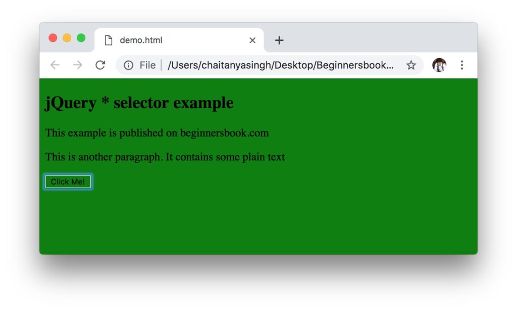 jQuery * Selector output