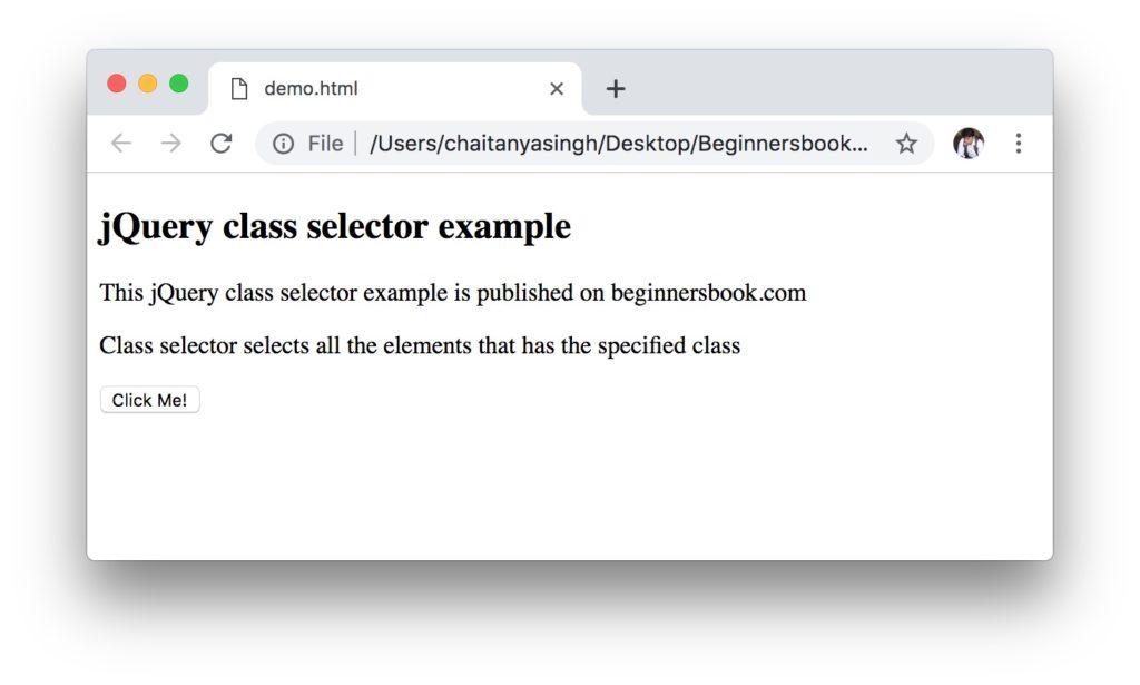 jQuery class Selector example