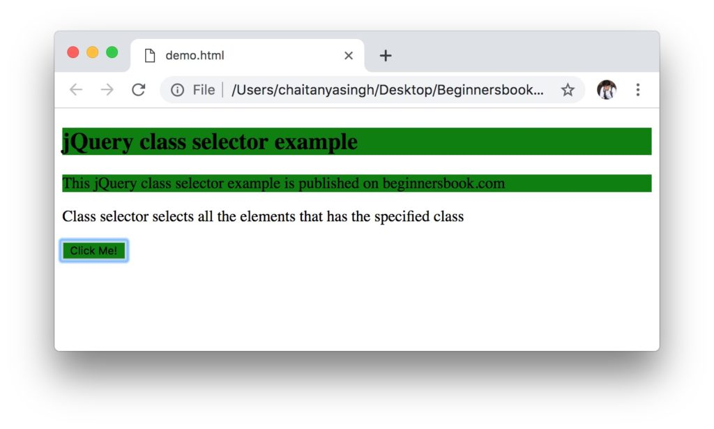jQuery class Selector output