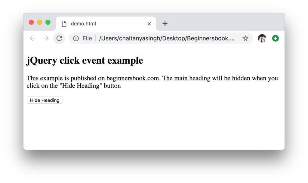 jQuery click event example