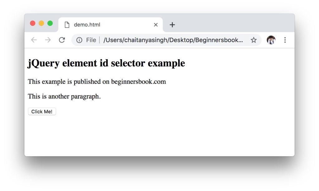 jQuery Selectors - Element Id selector