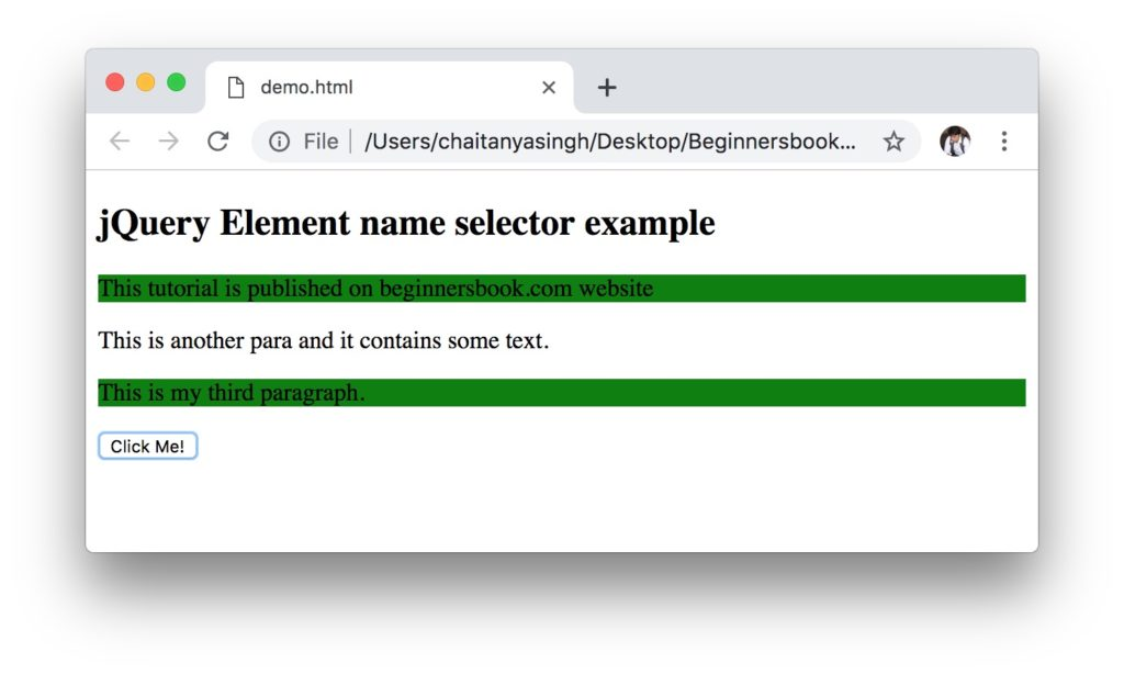 jQuery Element name class selector example
