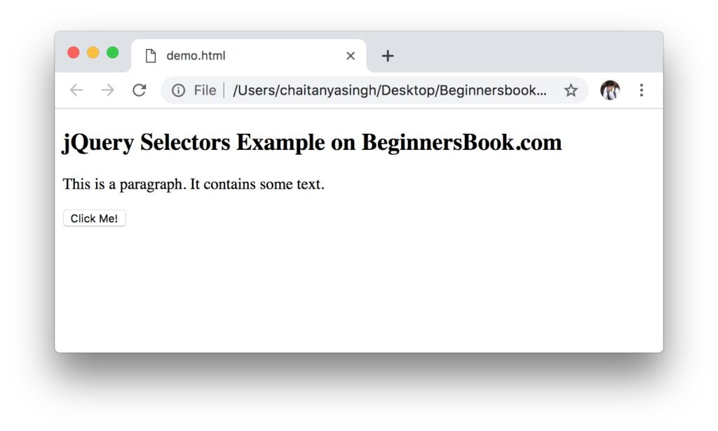 jQuery element name selector example