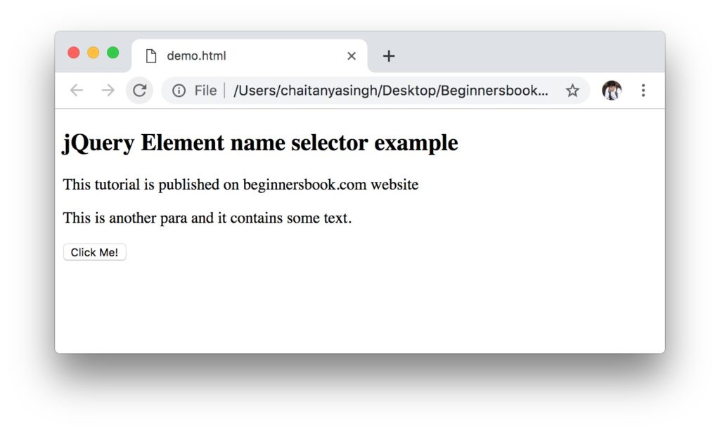 jQuery element selector example