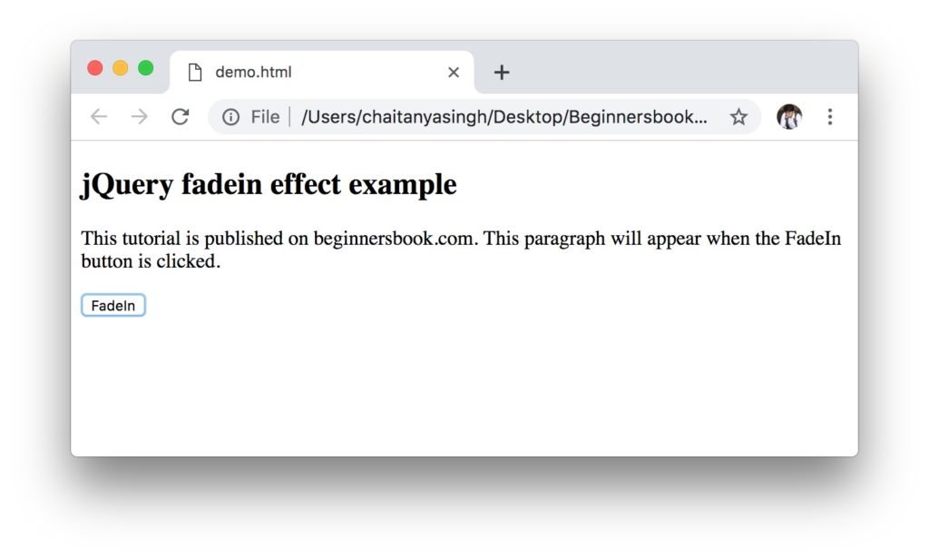 jQuery fadeIn() effect example