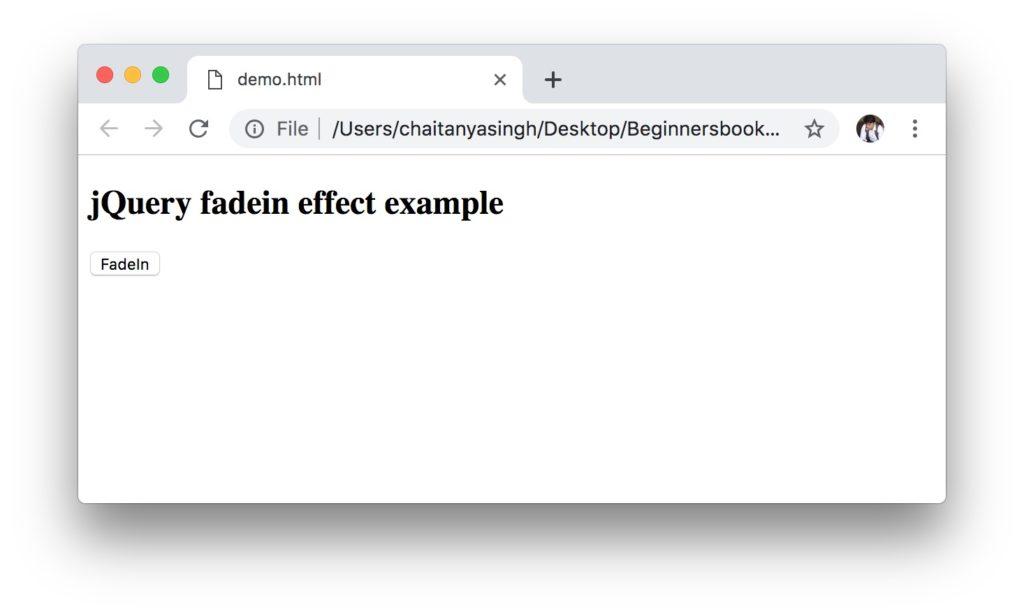 jQuery fadeIn effect