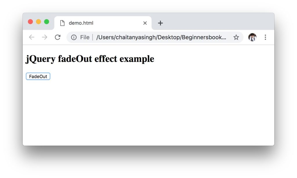 jQuery fadeOut() Effect example