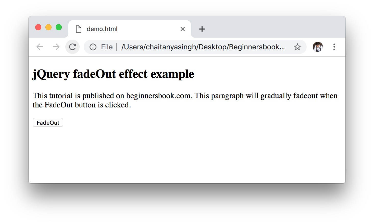 jQuery fadeOut() Effect