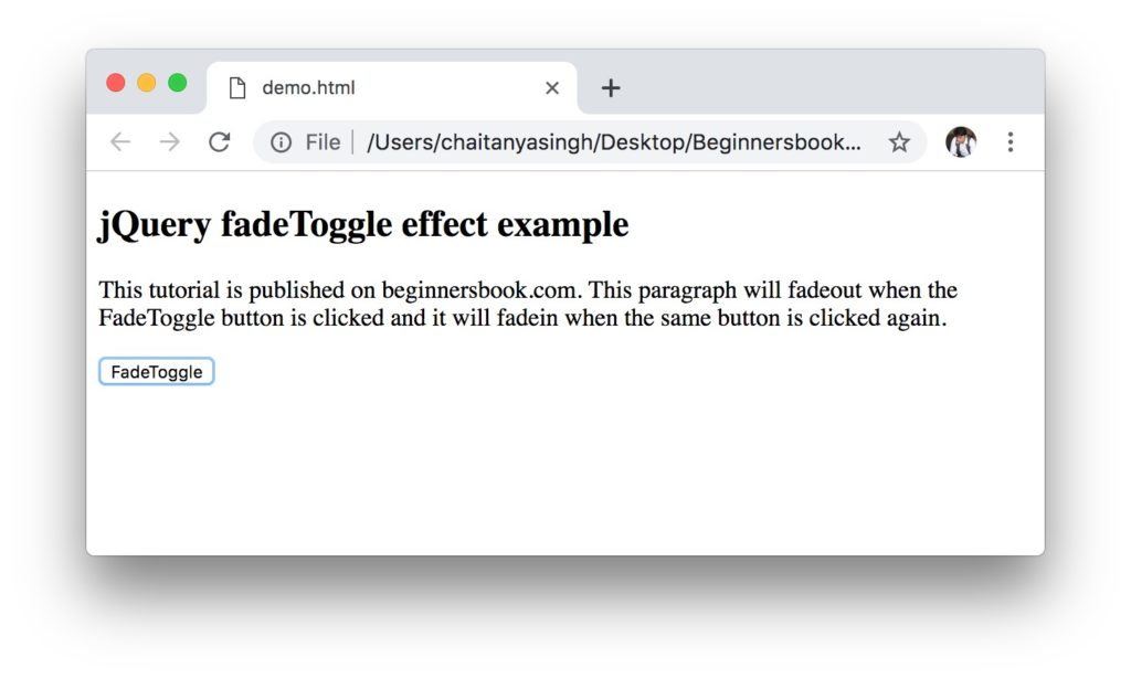 jQuery fadeToggle example